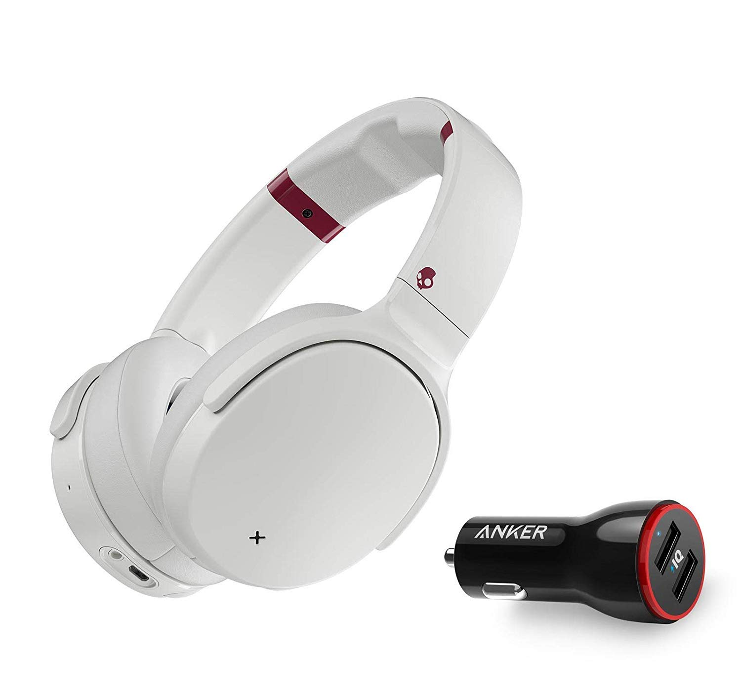 Skullcandy Venue Active Noise Canceling Over-Ear Wireless Bluetooth Headphone Bundle with Anker 2-Port USB Car Charger - White/Crimson