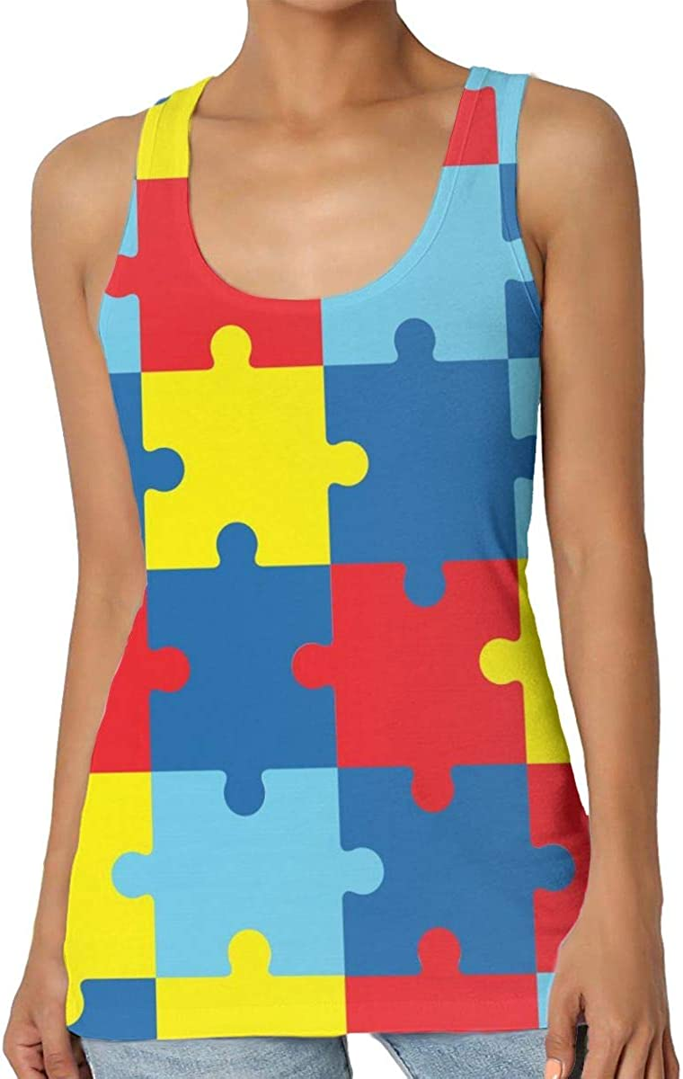 Womens Casual The Symbol of Autism Graphic Tank Top Sleeveless Yoga Vest Shirt Top