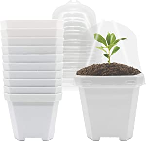 4 inch White Plastic Nursery Pots with Humidity Dome,Square Flower Pot Planter Container,10 Sets