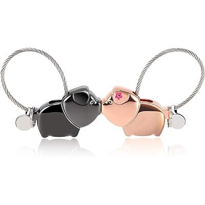 Foonii 1 par Parejas Llaveros, magnética Desmontable Auto Llaveros, Besar Llaveros de Cerdo, para Parejas Mujer Hombre (Negra + Oro Rosa)