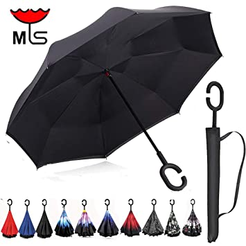 mys Inverted Reversible Compact Umbrella ,Folding Reverse Umbrella Lightweight with Auto Open Button