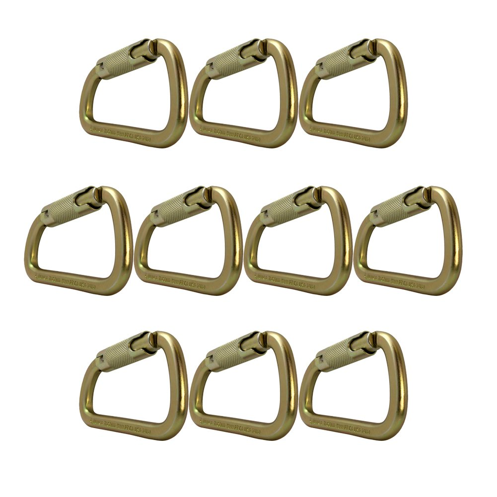 Fusion Climb Tacoma Steel Triple Lock with Key Nose Modified D-shaped Carabiner 10-Pack