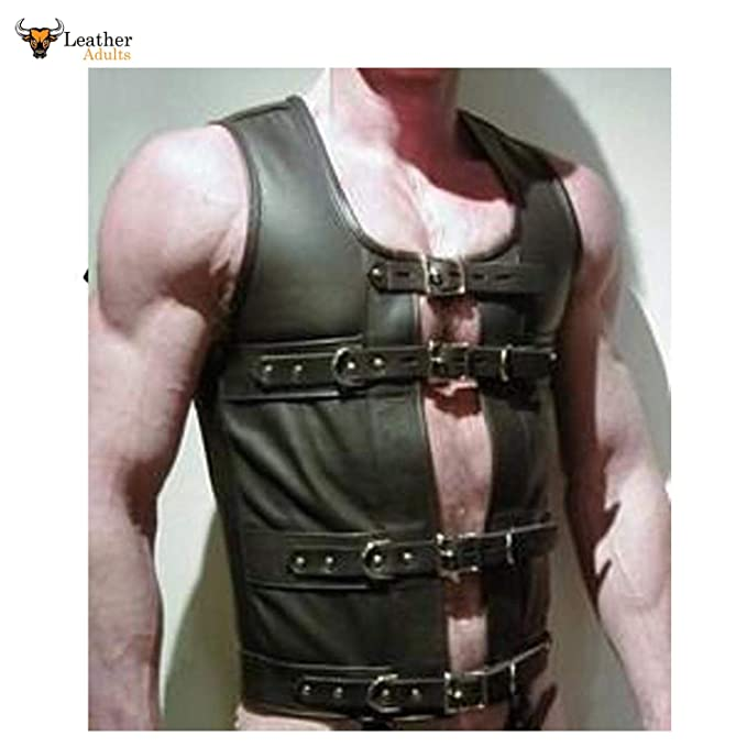 d70cb01b18f Men s Leather Steampunk Waistcoat Vest Corset Goth Gay Victorian Waistcoats  (Chest Size Inches 42 quot