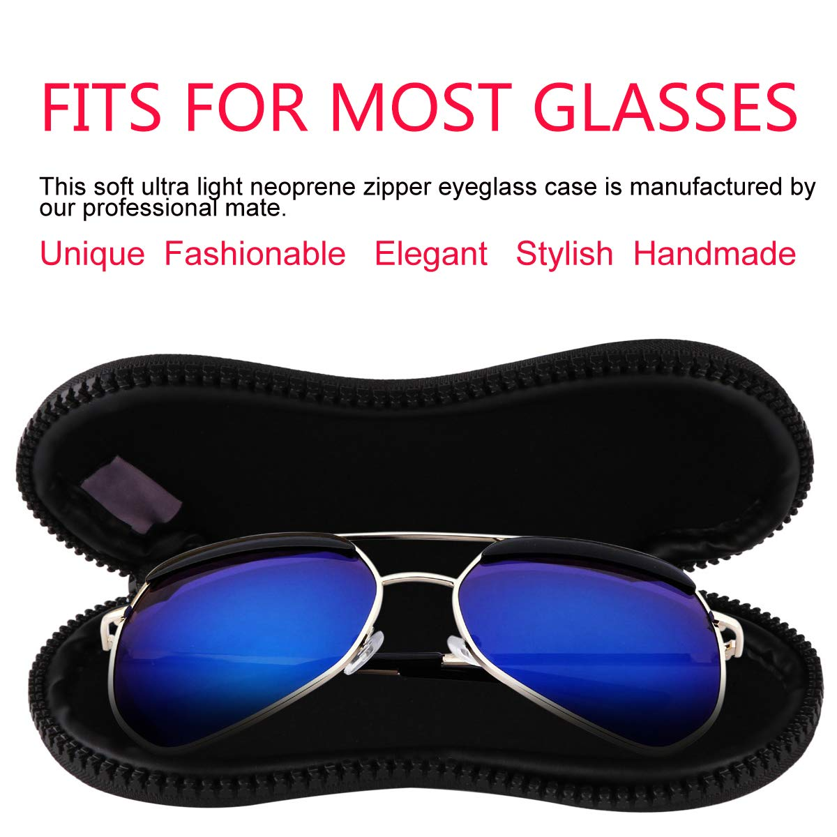Sunglasses Soft Cases Ultra Light Portable Versatile Neoprene Zipper Eyeglass Cases 2 Pcs PG6 FF1