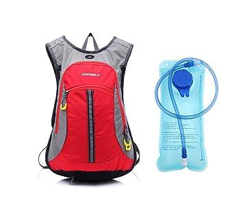 36fa4eccce 15L Sac à dos d'hydratation avec poche à eau 2L d'eau Housse de pluie ...