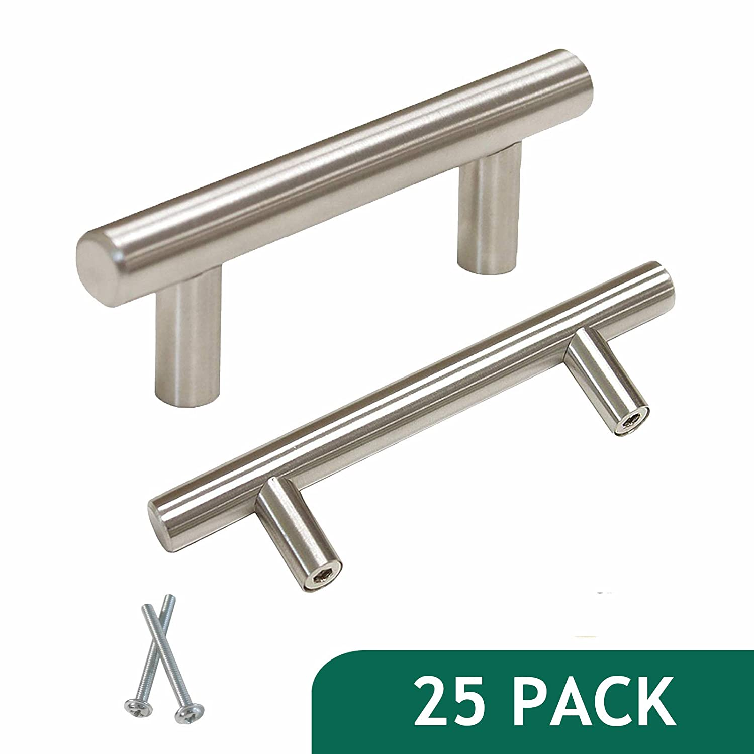 Probrico 3 inch Hole Centers Euro T Bar Cabinet Pulls Stainless Steel Kitchen Drawer Handles Wholesale 25 Pack
