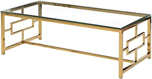Best Master Stainless Steel and Glass Coffee Table in Clear/Gold Base