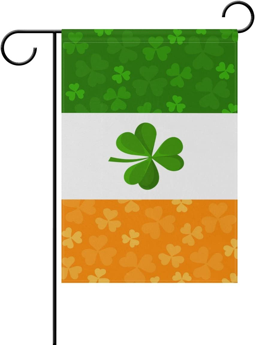 ALAZA Double Sided Irish Flag with Shamrock Polyester Garden Flag Banner 12 x 18 Inch for Outdoor Home Garden Flower Pot Decor