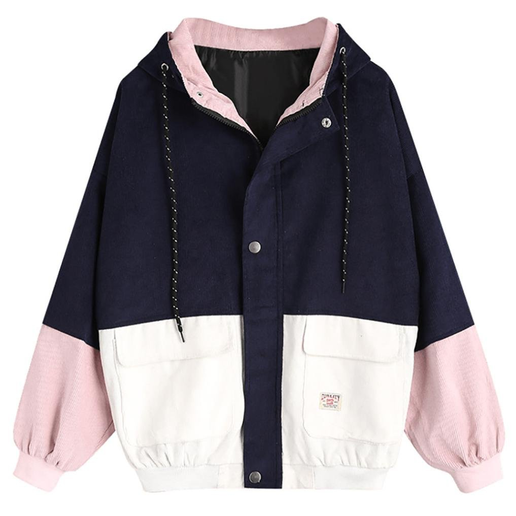 Leedford Women Corduroy Coat, Hoodie Long Sleeve Patchwork Oversize Jacket Windbreaker Overcoat With Zipper Pockets (S, Navy) by Leedford