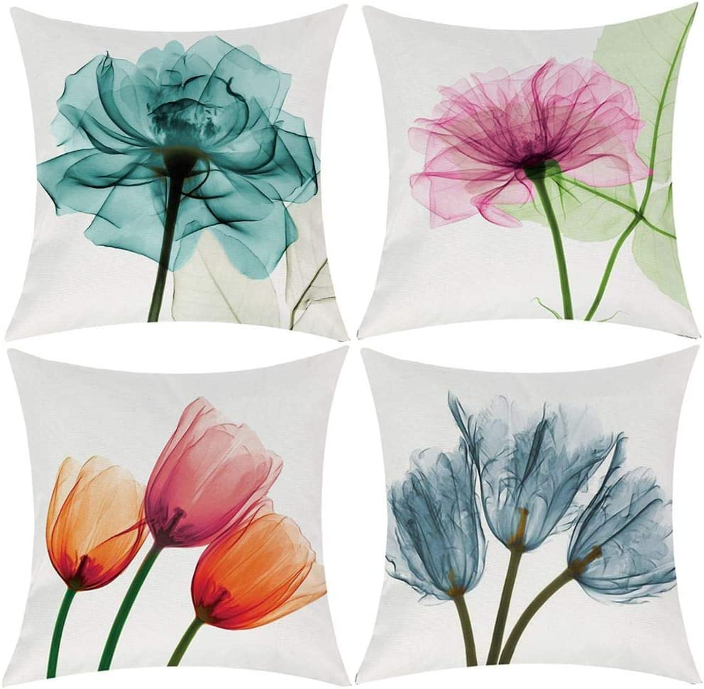 Throw Pillow Cover Decorative Durable Cushion Cover 18 x 18 Pillow Case Beautiful Flower Tulip Watercolor Vibrant Teal Color Hidden Zipper Home Decor Fall Winter Sofa Couch Bedroom Living Room