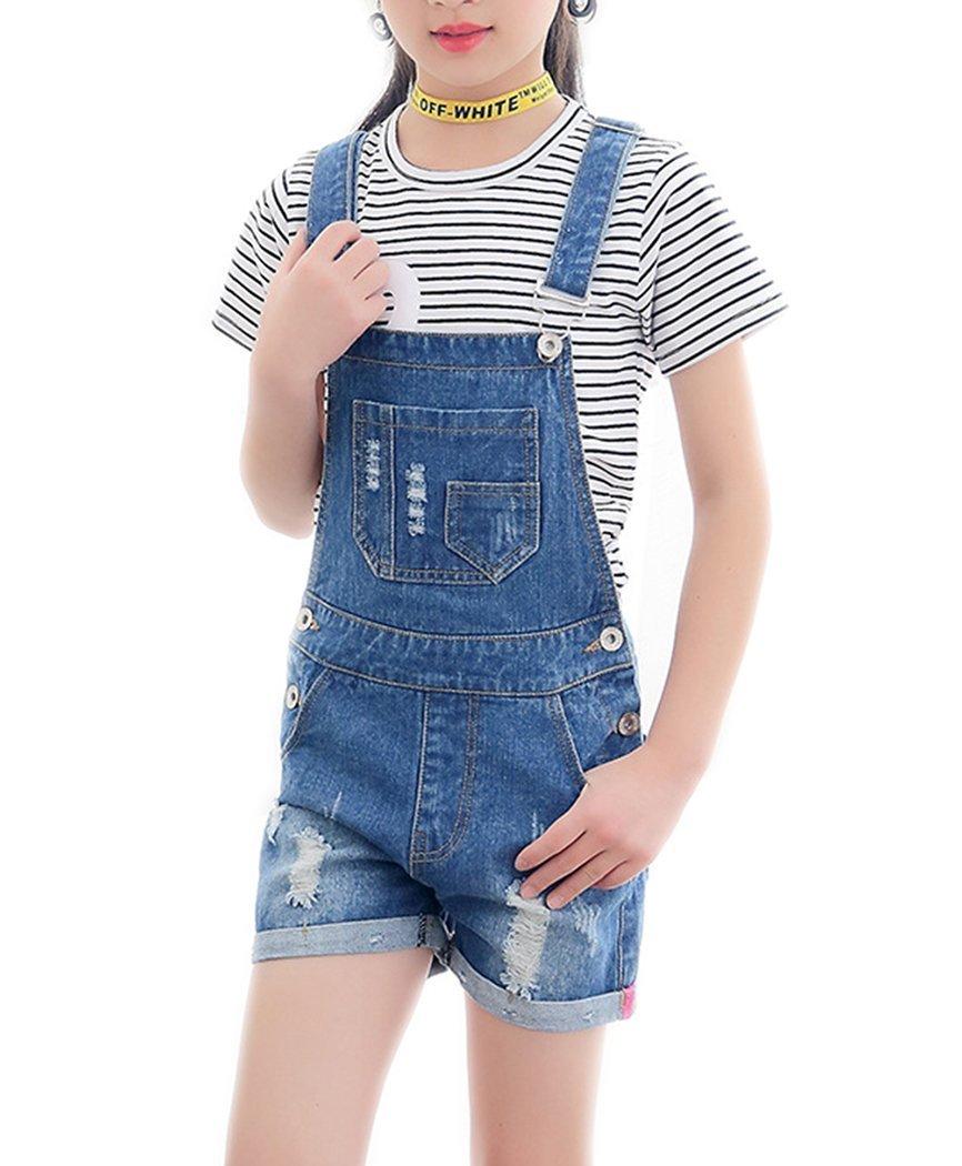 Big Girl's Kid Cotton Jumpsuit BF Cool Bib Jeans Ripped Romper Shortalls 1 Piece (11-12 Years, Dark Blue)
