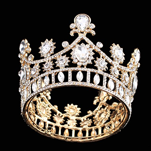 Princess Cake Topper Clear Crystal Rhinestone Headpiece Crown Tiaras Hair Jewerly (Gold Plated) ()