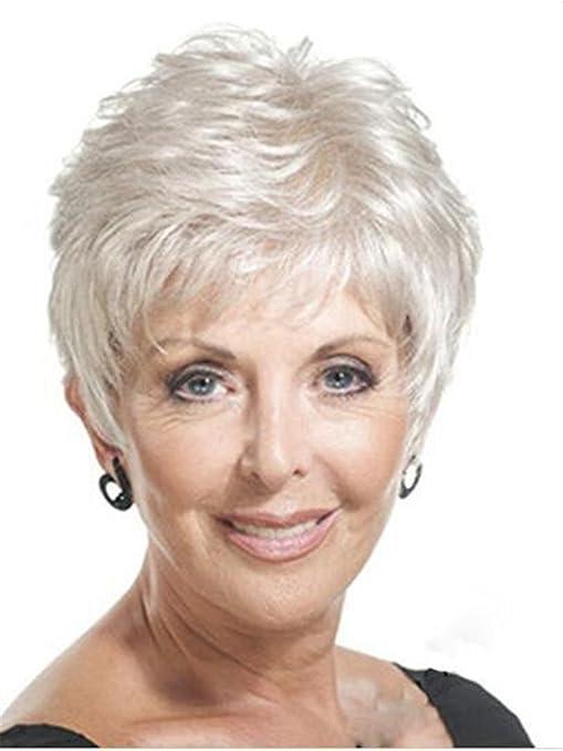 Royalfirst - Peluca de pelo corto para mujer, de plata y fibra sintética, color