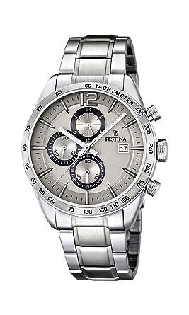 Festina F16759/2 - Reloj de cuarzo para hombre, con correa de acero inoxidable, color plateado: Amazon.es: Relojes