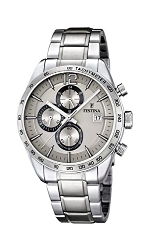 Festina Men s Quartz Watch with Beige Dial Chronograph Display and Silver  Stainless Steel Bracelet F16759 2  Amazon.co.uk  Watches 983cc6d975