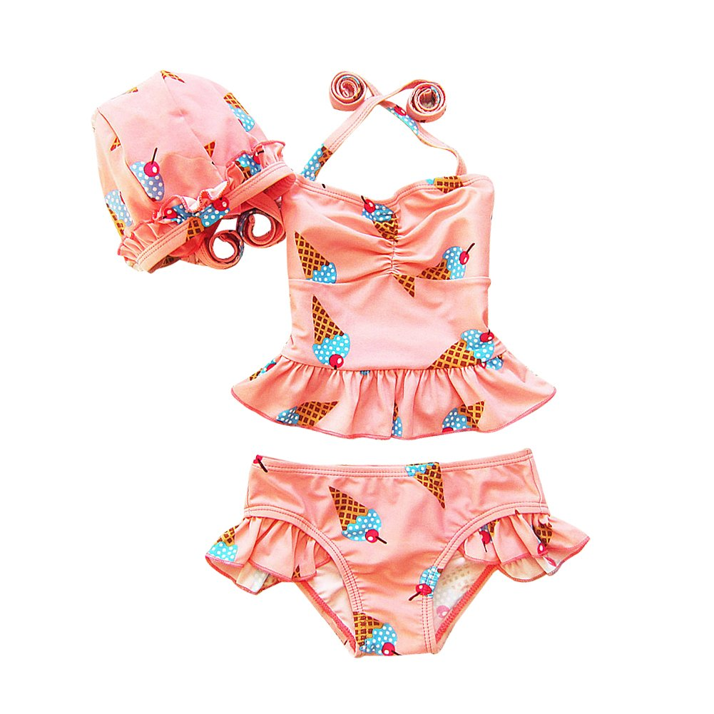 ZAMME Girls 3pcs Flower Swimsuit Cherry Swimmable Bikini Set Swimwear cnpkid281