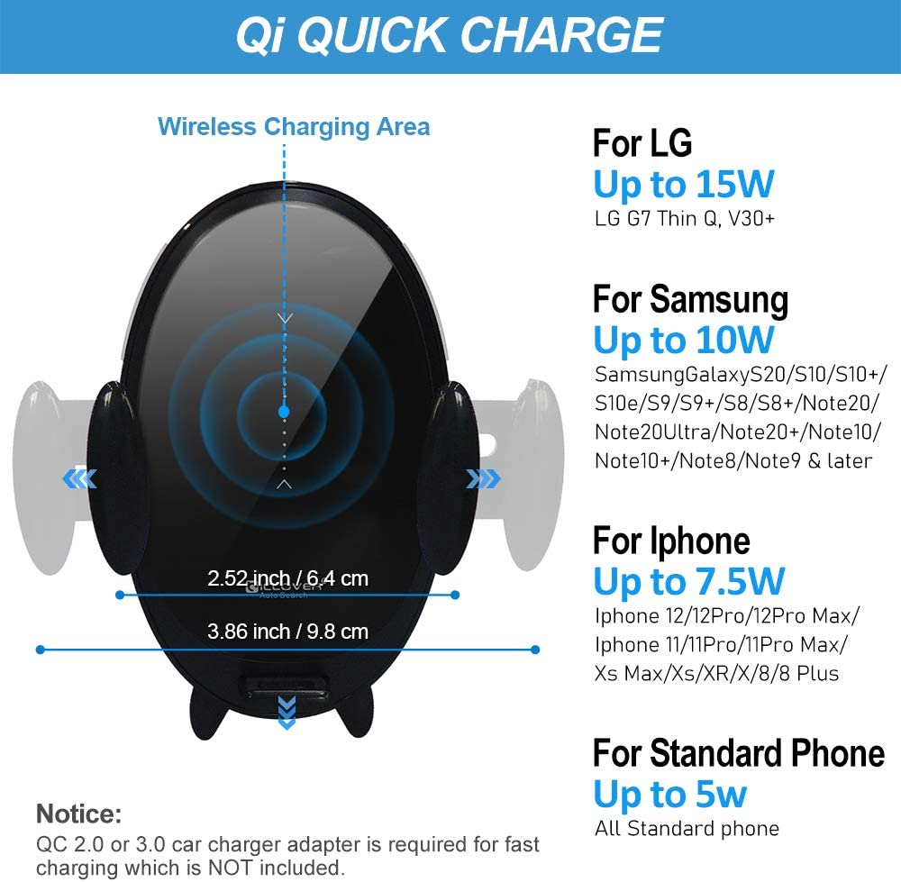 IC ICLOVER 15W Qi Super Fast Charging Car Mount Auto-Clamping Air Vent Phone Holder for iPhone12//Pro//Max//11//Pro//Max//8Plus//8//XS Samsung Galaxy S20//S10//Note//10//10+ Automatic Search Wireless Car Charger