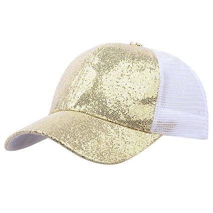 7fce0d3cfc1 Amazon.com  KFSO Women Man Ponytail Baseball Cap Sequins Shiny Messy Bun  Snapback Hat Sun Caps (Gold