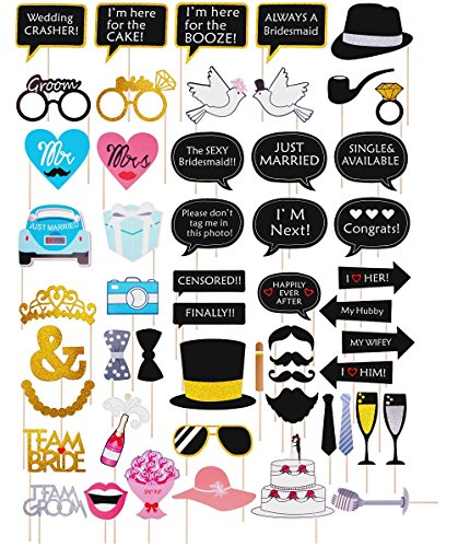 52pcs Wedding Photo Booth Props Kit Bridal Shower Selfie Decorations Diy Costume Favors for Valentine's Day Bachelorette Party Engagement Anniversary Anniversary Birthday Baby Shower