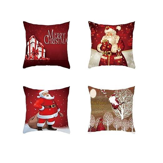 DOXMAL Fundas Navideñas para Cojines,4PCS Funda de Almohada de Navidad de Santa Claus Caso de Decorativo Cojín para Sofá Cama Oficina del Coche ...