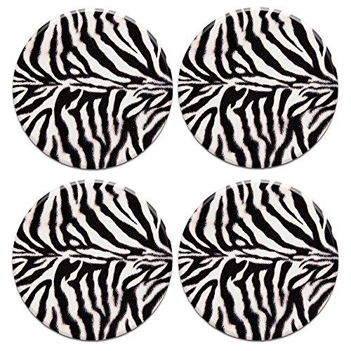 Coaster Zebra - CARIBOU ROUND Ceramic Stone Coasters 4pcs Set, Mug Coffee Cup Place Mat Home Coasters for Hot & Cold Drinks, Zebra Stripes Skin Pattern