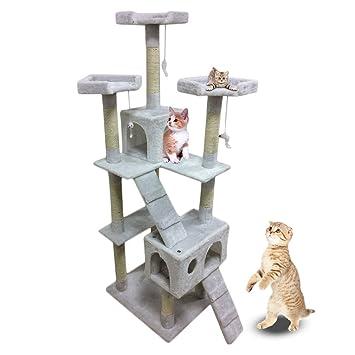 MAKPON Árbol para Gatos de Mascota, 180 cm, multinivel, con Cuerda para Juguetes, Gatos, rascador, Color Blanco: Amazon.es: Productos para mascotas