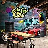 ATR Wall Mural Ferrari Sport Car City Graffiti Murals 3D Wallpaper Restaurant Cafe Bar Painting Background, (W) 430X (H) 300 cm