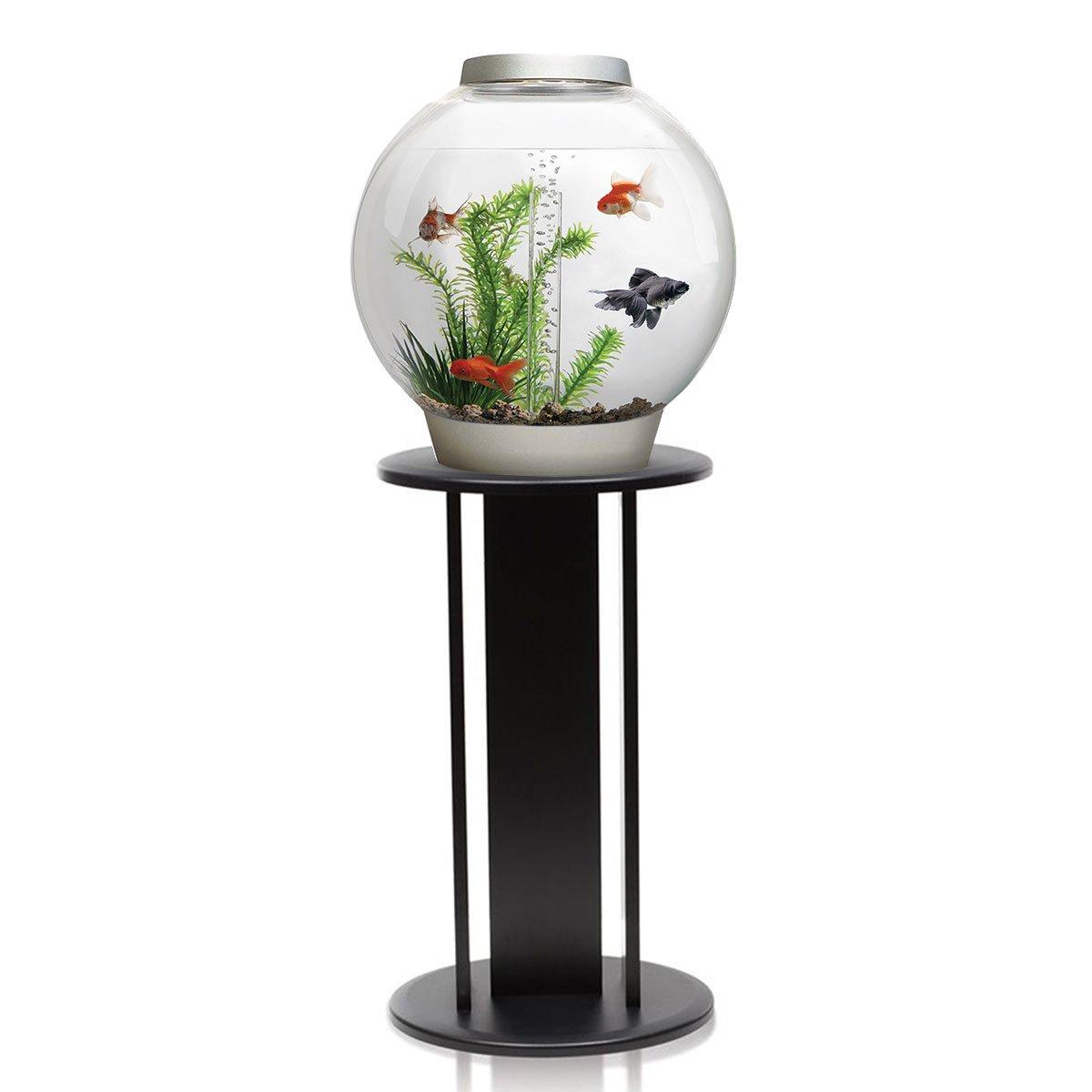 BiOrb Classic 30L Aquarium in Silver with Standard LED Lighting & Black Stand