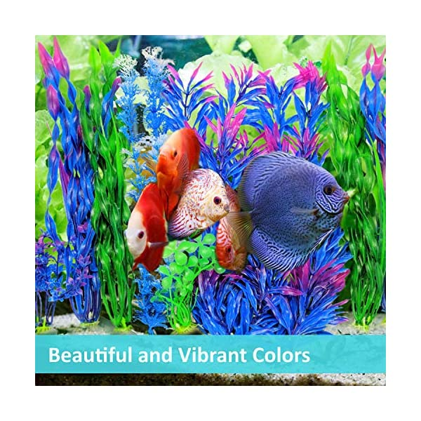 Otterly Pets Plastic Plants for Fish Tank Decorations Large Artificial Aquarium Decor and Accessories - 8-Pack 2