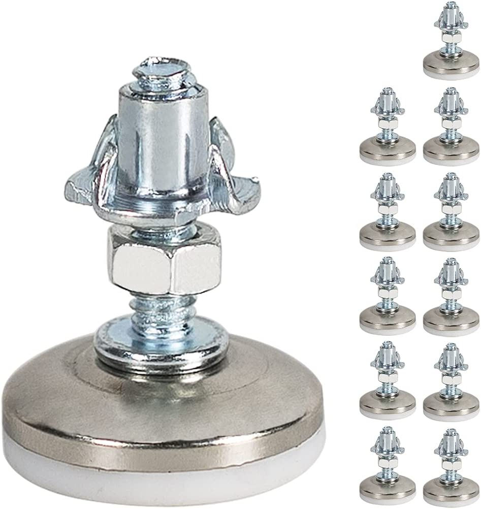 Medium Duty Furniture Leg Levelers Table and Chairs Leveling Legs,1/4in Base 1.2in Base Diameter (12PCS)