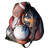 """Made4Sports 30"""" x 40"""" Heavy Duty Mesh Sports Equipment Bag with Shoulder Strap, Drawstring & Spring Stops - Ideal for Soccer Balls, Basketballs, Volleyballs & Other Sports Accessories"""