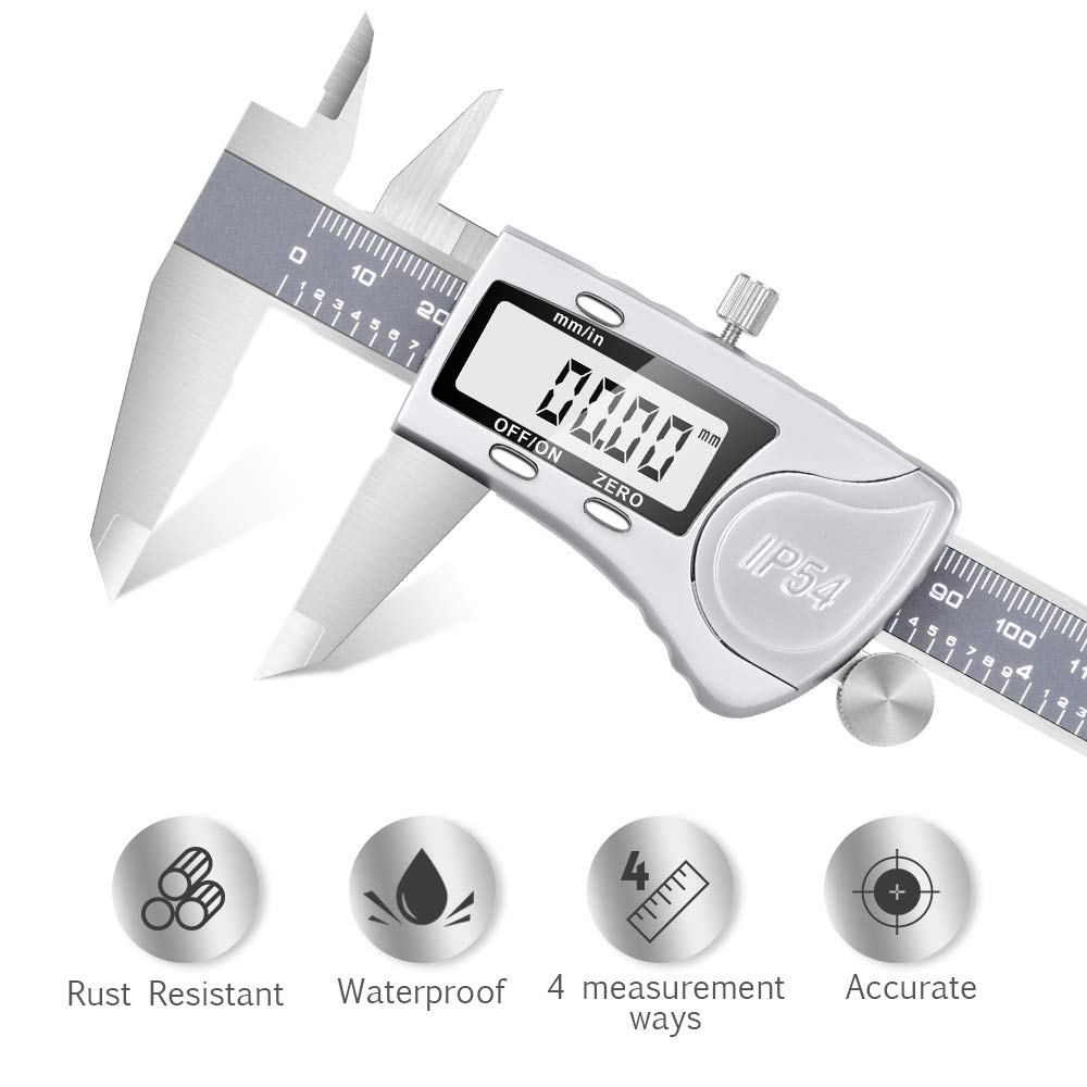 Digital Caliper - Waterproof Stainless Steel Digital Caliper Measuring Tool With Large LCD Display 6'' Maximum Measurement 0.0005''/0.01mm Resolution Inch To Metric Conversion for Excellent Accuracy