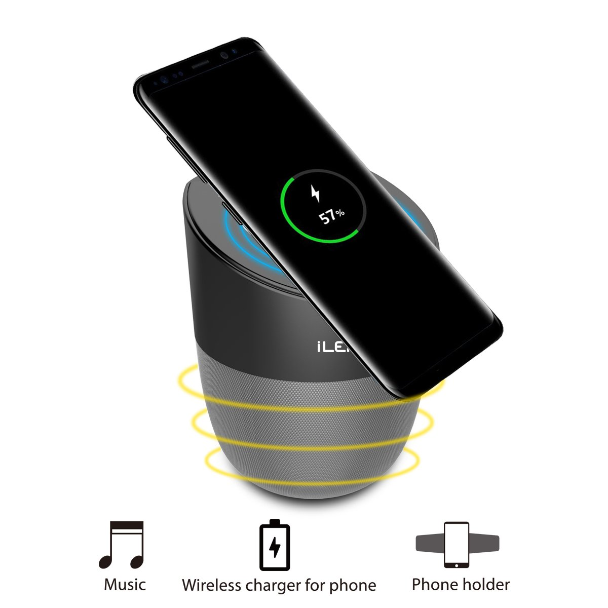 【Special Sales】 Wireless Charging Speaker with Bluetooth, Magnetic Mobile Phone Holder and Charger for iPhone Samsung Galaxy and Other Qi Enabled Devices (2500 mAh)