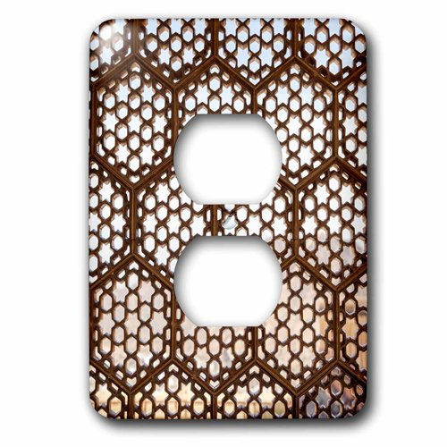 3dRose lsp_208897_6 Jaipur, Rajasthan, India. Designs in Window Latticework, Amber Palace. 2 Plug Outlet Cover