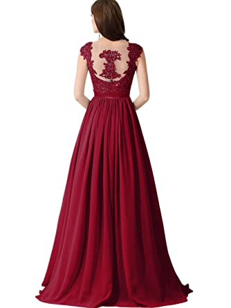 51b2c2559fb Babyonline Lace Backless Long Formal Evening Gown Prom Dresses for Wedding