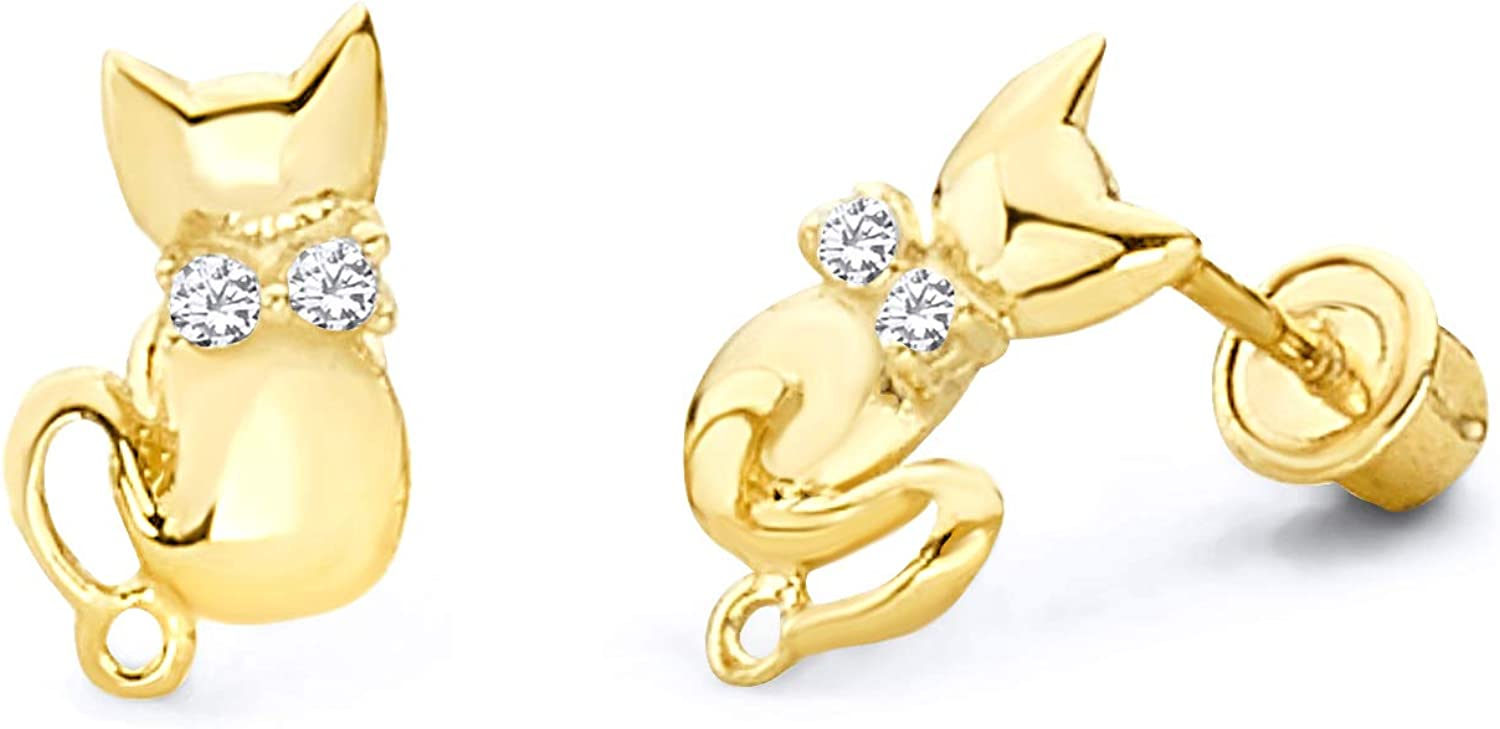 7mm 14k Solid Yellow Gold Cute Cat Face Studs Screw Back Earrings