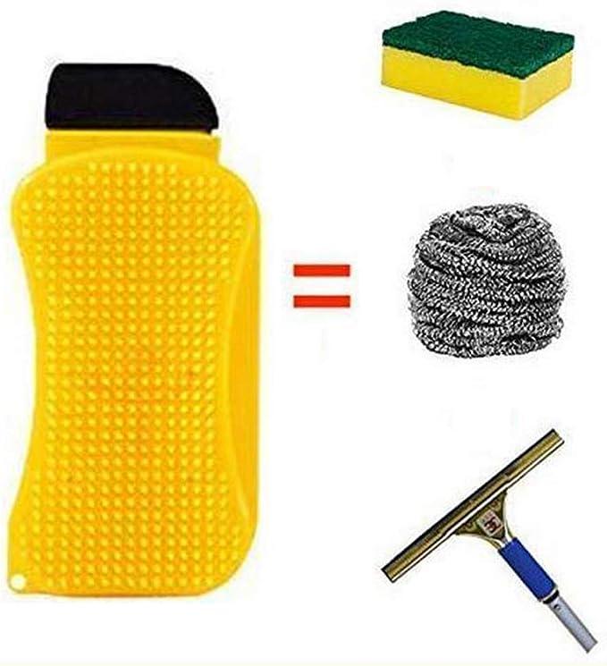 3 in 1 Cleaning Sponge//Brush//Scraper Scrubber handy Silicone Brush Dish Tool