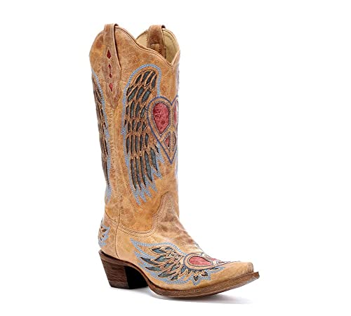 aac34786e80 CORRAL Women's Heart Angel Wing Cowgirl Boot Snip Toe