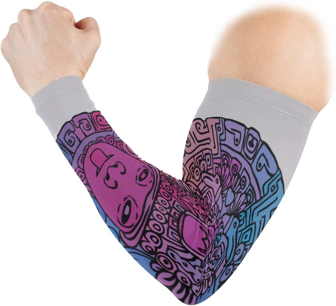QYUESHANG Run Sleeve Mysterious Retro Ancient Mayan Calendar Print Ice Silk Arm Long Sleeves Uv Protection Sleeves for Men Quick-Drying/&Breathable Sun Arm Sleeves for Unisex Outdoor 2pcs