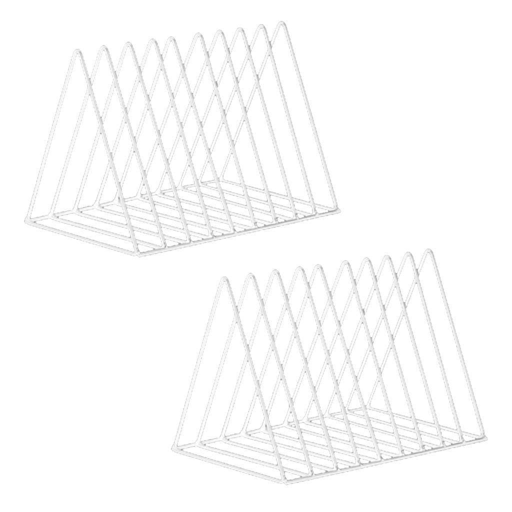 Homyl 2pcs Nordic Style Metal File Organizer Triangle Desktop Storage Rack Bookshelf Magazine Holder White