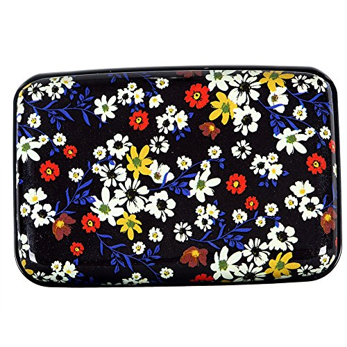 Metal Capacity - Aluminum Wallet RFID Blocking Metal Credit Card Holder Slim Hard Case (Elegant Floral)