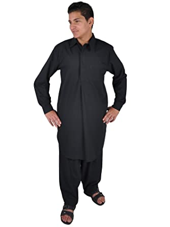 Zweiteiliges Herren-Salwar-Kameez- Set im Pakistani-Stil , schwarz ...