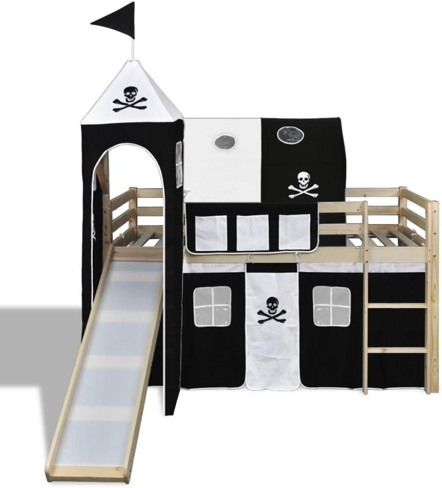 vidaXL Cama Alta Pirata para Ni/ños con Tobog/án y Escalera Madera Blanca y Negra