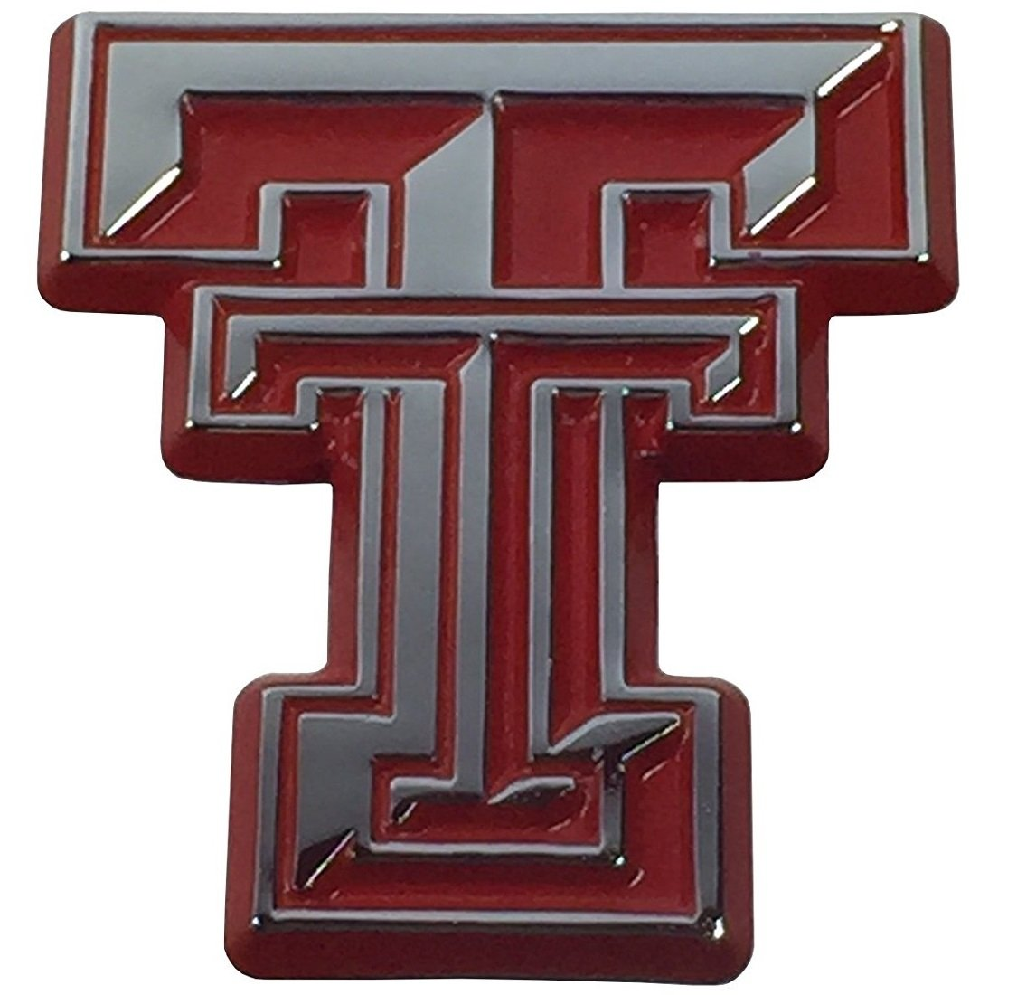 Texas Tech University Red Raiders METAL Auto Emblem - Many Different Colors Available! (Chrome w/ Red Trim) AMG Auto Emblems