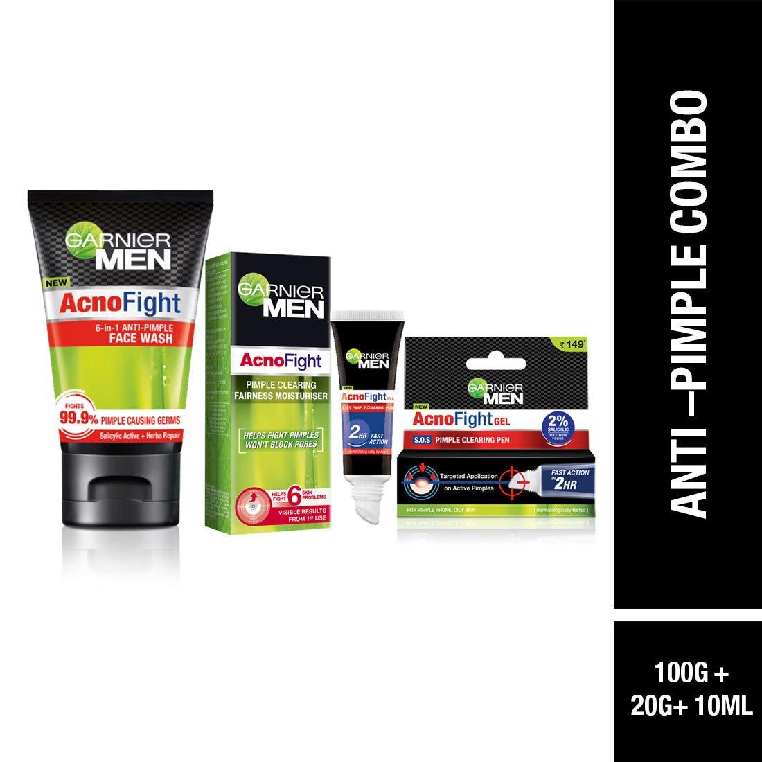 Garnier Men Acno Fight Anti-Pimple Facewash -100gm, Clearing Whitening Day Cream-45g & Clearing Gel-10ml