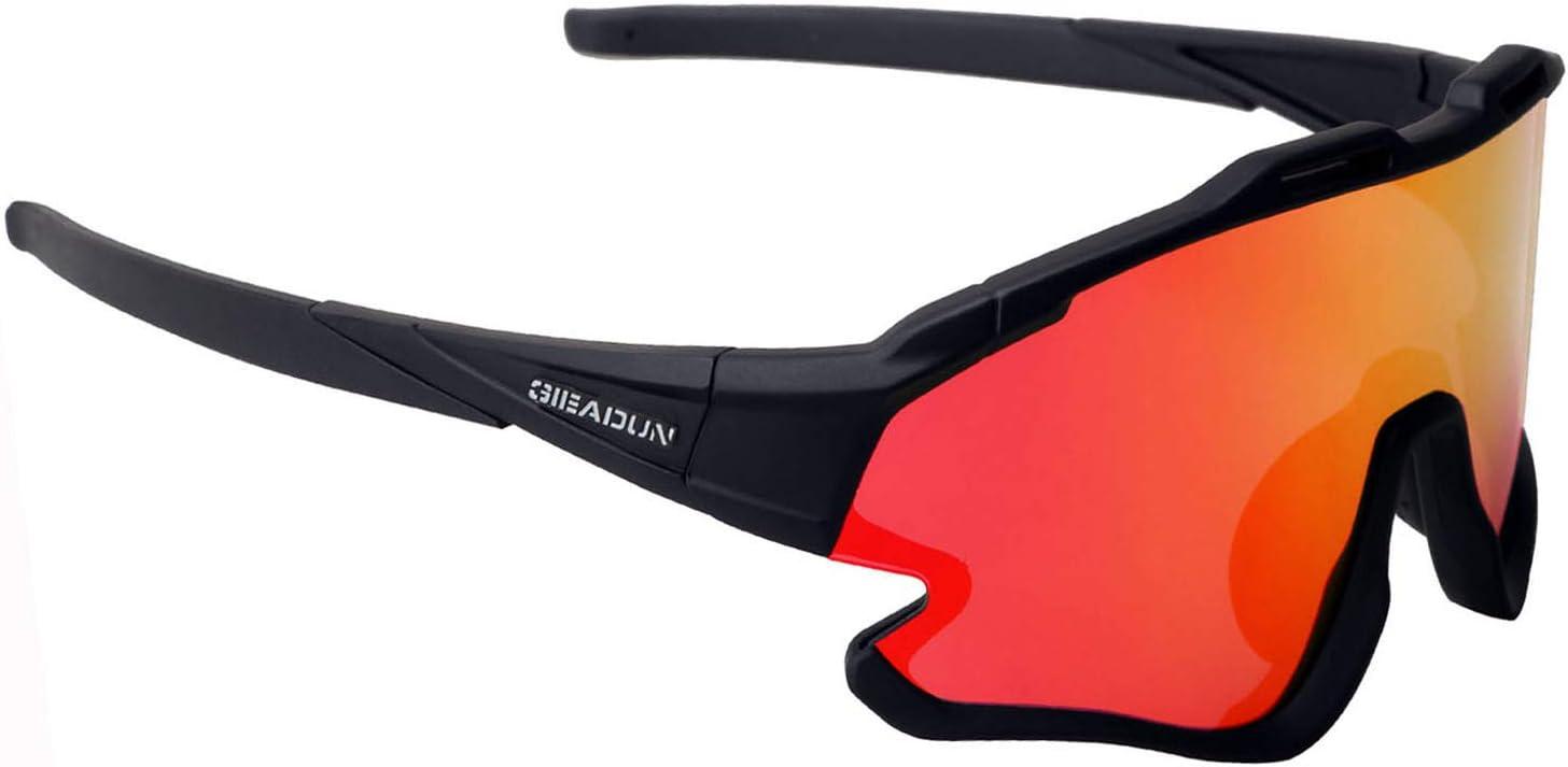 GIEADUN Gafas Ciclismo Polarizadas con 3 Lentes Intercambiables UV 400 Gafas,Corriendo,Moto MTB Bicicleta Montaña,Camping y Actividades al Aire Libre para Hombres y Mujeres TR-90