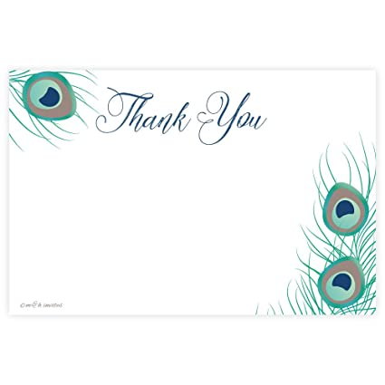 amazon com peacock feather thank you cards 20 count office