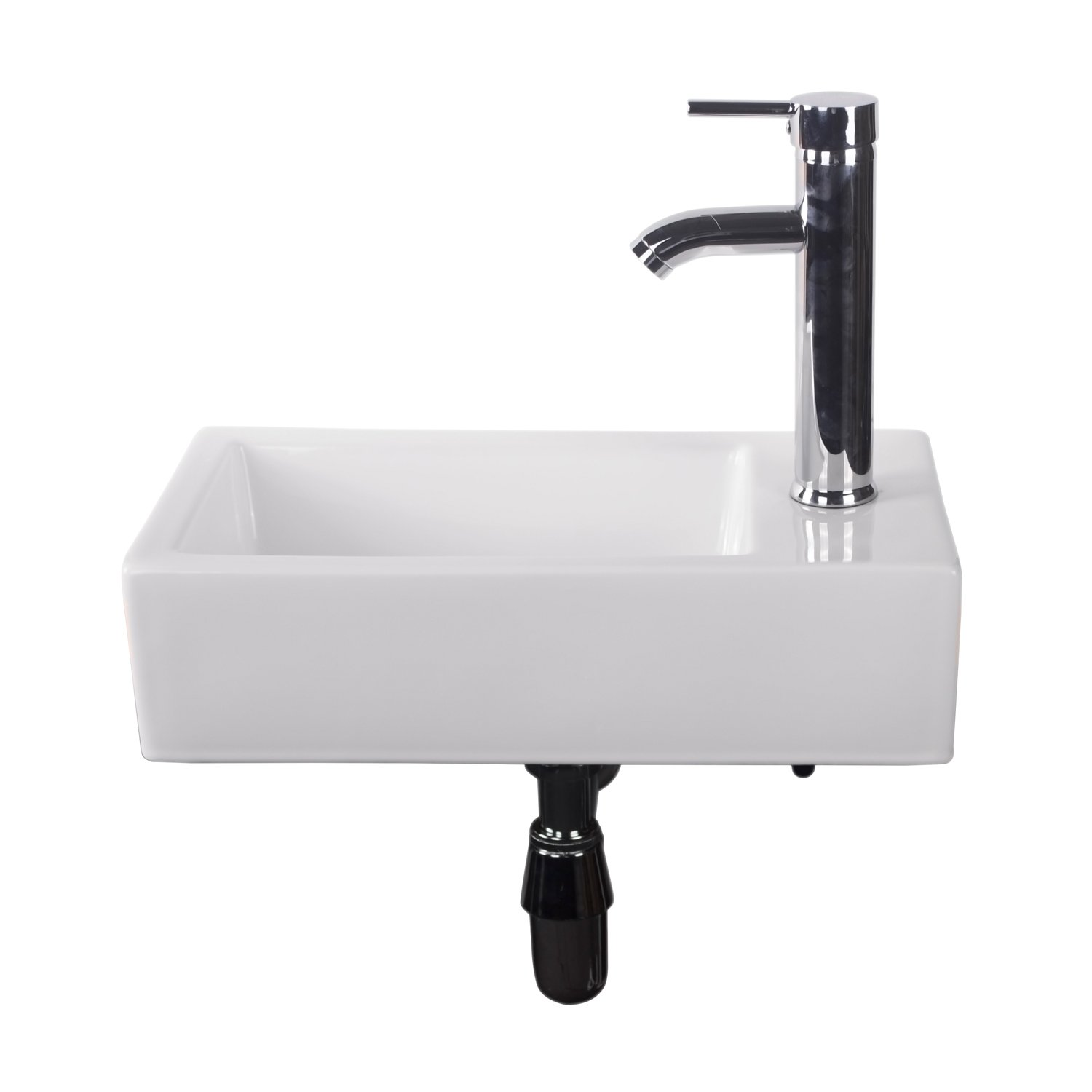 BATHJOY Bathroom Rectangle Wall Mount White Porcelain Ceramic Vessel Sink with Chrome Faucet Combo