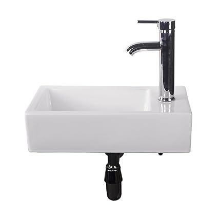 Walcut Bathroom Wall Mount Rectangle Corner Sink White Porcelain