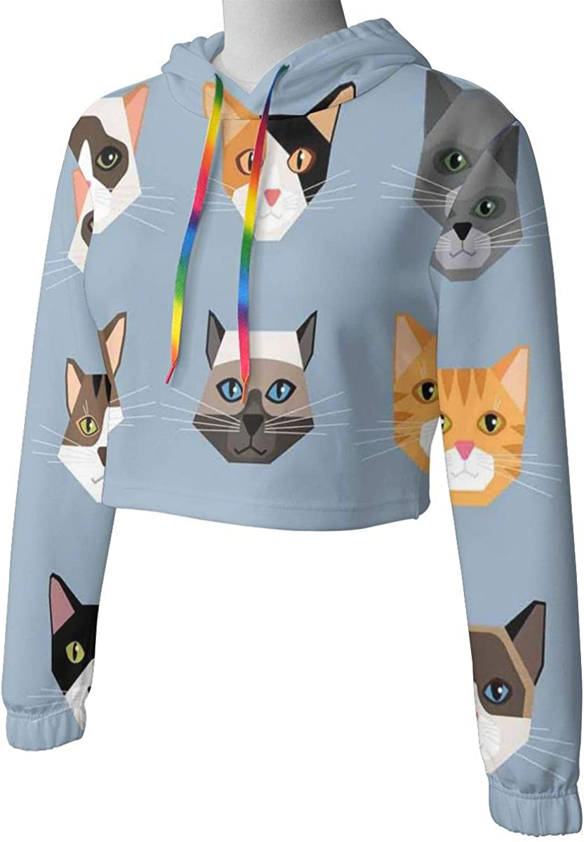Womens Cropped Hoodie,Animal Portrait Set with Cute Kittens Face Whiskers Contemporary Caricature Pattern,S-XL